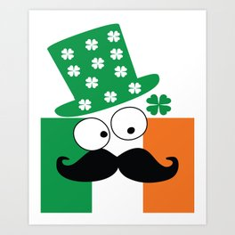 Irish mustache man st.Patty's day Art Print