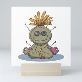Funny voodoo doll chakra stones yoga lotus Mini Art Print
