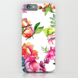 Sophisticated Pink & Peach Floral Pattern on Alabaster iPhone Case