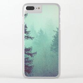 Forest Fog Fir Trees Clear iPhone Case