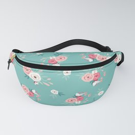 Floral Turquoise Pink Simple Flower Fanny Pack