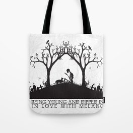 Edgar Allan Poe Black and White Illustrated Quote  Tote Bag
