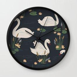 Swan Pond Dark Water Lily Pad Lotus Flowers Wall Clock