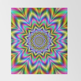 Psychedelic Flower Throw Blanket