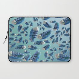 """""""Blue feathers flying in the air"""" Laptop Sleeve"""