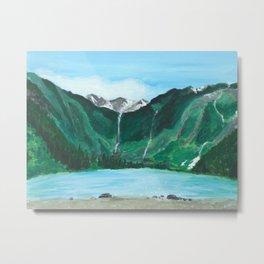Avalanche Lake Mountain Waterfall Art Metal Print