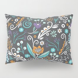 Flower circle pattern, brown Pillow Sham