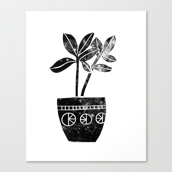 Rubber Plant linocut lino printmaking illustration black and white houseplant art decor dorm college Canvas Print