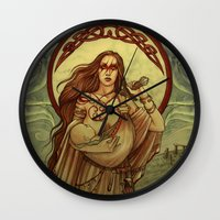 mother Wall Clocks featuring Mother by Natasa Ilincic