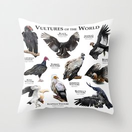 Vultures of the World Throw Pillow