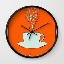 Aaah...coffee...  Retro / Vintage Coffee Print on Burnished Orange Background Wall Clock