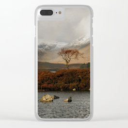 Lone Tree and Dusting of Snow in Mountains of Scotland Clear iPhone Case
