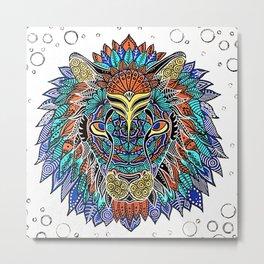 lion mandala Metal Print