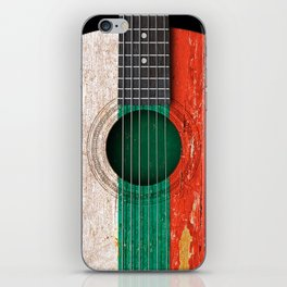 Old Vintage Acoustic Guitar with Bulgarian Flag iPhone Skin