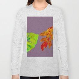 Autumn Leaves in orange, brown, yellow, green on light purple mauve Long Sleeve T-shirt