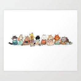 Reading Kitties Art Print