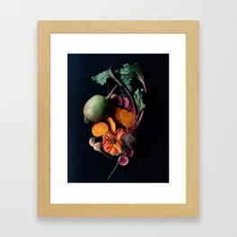 Moody Root Vegetables and Rose Framed Art Print