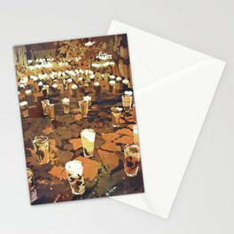 Candles in graveyard during Day of the Dead in Patzcuaro, Mexico.  Watercolor Stationery Cards