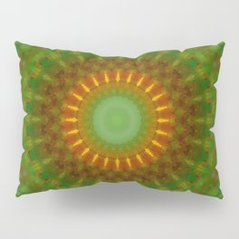 Mandala in green yellow and red tones Pillow Sham