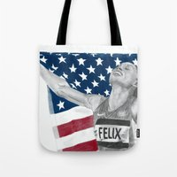 allyson johnson Tote Bags featuring Allyson Felix by Moira Sweeney