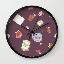 Tea Time-Mauve Wall Clock