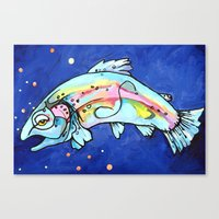 trout Canvas Prints featuring Trout Pout by waggytailspetportraits