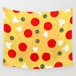 Cool fun pizza pepperoni mushroom Wall Tapestry