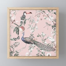Oriental Peacock Pink Framed Mini Art Print