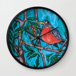 Robin Redbreast in the Mountain Ash Wall Clock