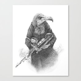 Hooded Vulture with Uilleann Pipes by Pia Tham Canvas Print