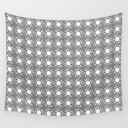Black and White Woven Whirls Wall Tapestry