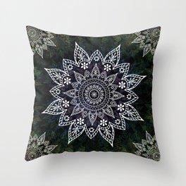 Rising Soul Mandala Design White Blue Green Throw Pillow