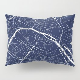 Paris France Minimal Street Map - Navy Blue and White Reverse Pillow Sham