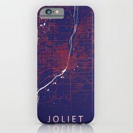 Joliet, IL, USA, Blue, White, City, Map iPhone Case