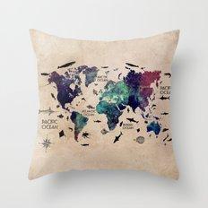 Oceans Life World Map #map #worldmap Throw Pillow