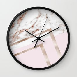 Geometric marble - luxe rose gold edition I Wall Clock