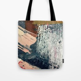 Kelly [2]: a bold, textured, abstract mixed media piece in fall colors/ blue, burnt sienna, ochre Tote Bag