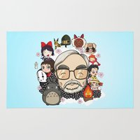 miyazaki Area & Throw Rugs featuring Ghibli, Hayao Miyazaki and friends by KickPunch