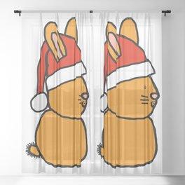 Gold bunny wearing a Santa hat Sheer Curtain