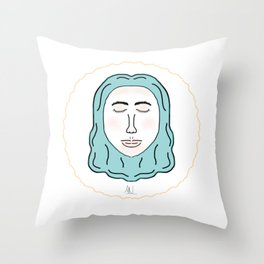 minimalist girl Throw Pillow
