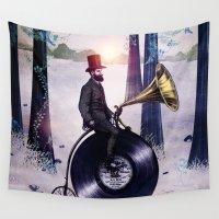 eric fan Wall Tapestries featuring Music man in the woods by Eric Fan & Viviana González by Viviana Gonzalez