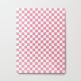 Small Checkered - White and Flamingo Pink Metal Print