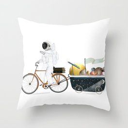space bath Throw Pillow