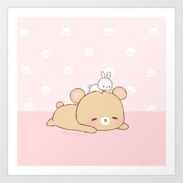 bear and bunny Art Print