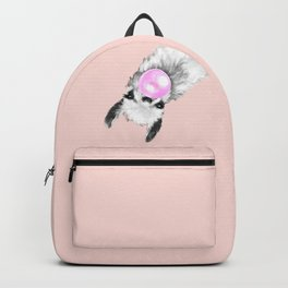Bubble Gum Black and White Sneaky Llama in Pink Backpack