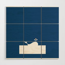 Whale in Blue Ocean with a Love Heart Wood Wall Art