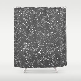 Constellations animal constellations stars outer space night sky pattern by andrea lauren grey Shower Curtain