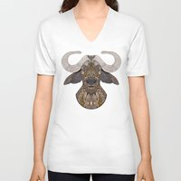 african V-neck T-shirts featuring African Buffalo by ArtLovePassion