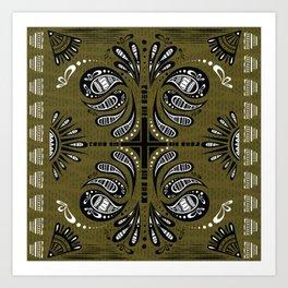 Tribal Paisley Black Green White Art Print