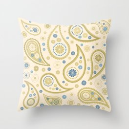 Paisley Funky Design Cream Golds Blues Throw Pillow